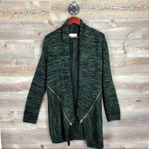 Emily Rose Stitch Fix green zipper cardigan